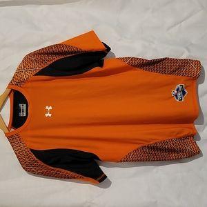Men's orange Under Armour fitted heat gear NFL combine t shirt men's large